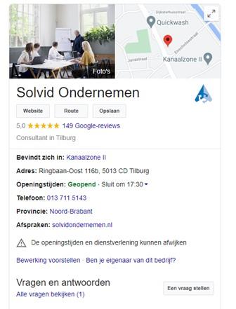 Google Mijn Bedrijf Solvid Ondernemen